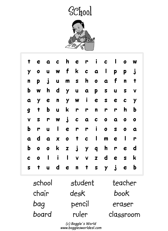 Fall Word Searches Middle School