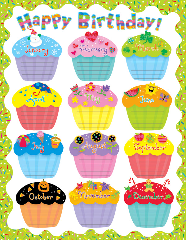 Monthly Birthday Cupcake Printables   Search Results   Calendar 2015